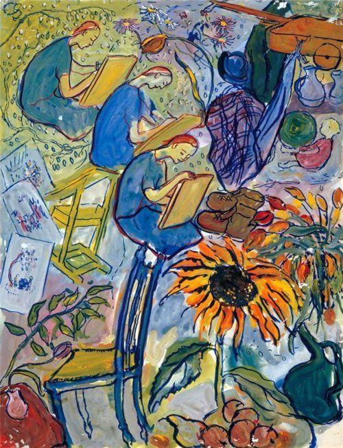 The artist as an art student, 1936-1938, Charlotte Salomon. was a German-Jewish artist born in Berlin. (1917 - 1943)    poboh: