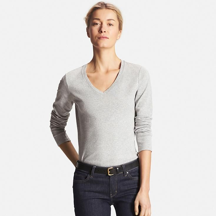 Women's Supima® Cotton Long Sleeve V-Neck T-Shirt | Uniqlo and Cotton