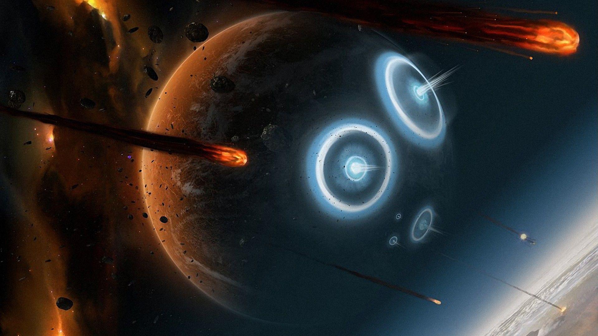 Battles Science Fiction Meteor Shower Meteoroid Skies Wallpaper Space Artwork Wallpaper Space Sci Fi Wallpaper