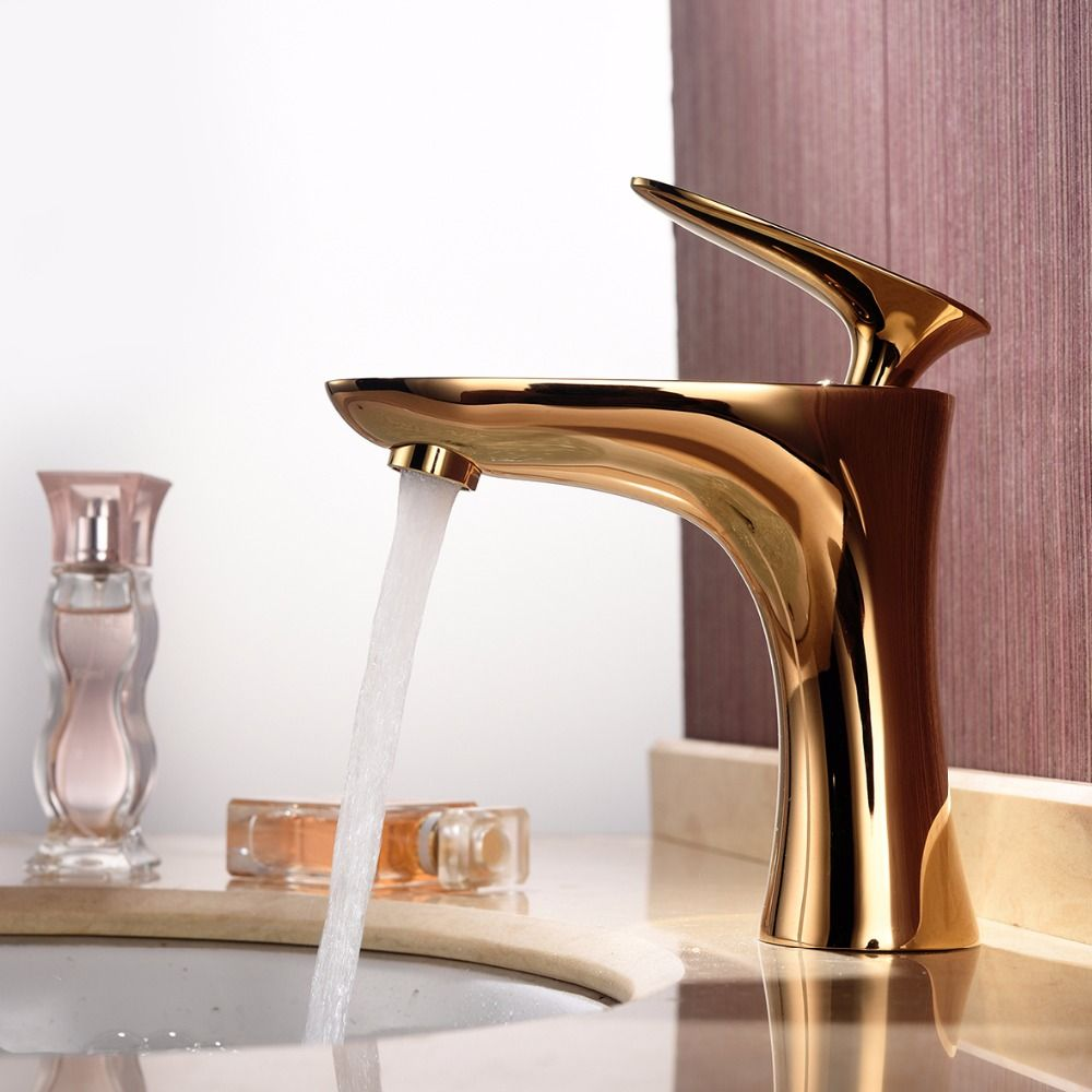 Antique Bathroom Faucet Gold Deck Mounted Single Handle Lavatory ...
