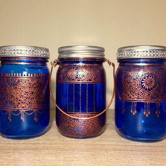 Trio of blue bohemian henna lanternwedding vasepatio lightsvotive trio of blue bohemian henna lanternwedding vasepatio lightsvotive holder jar paintinglantern weddingblue mason workwithnaturefo