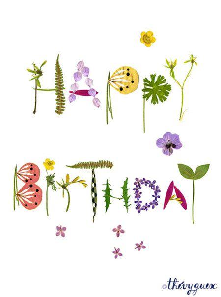 Carte fleur herbier Joyeux Anniversaire Carte anniversaire