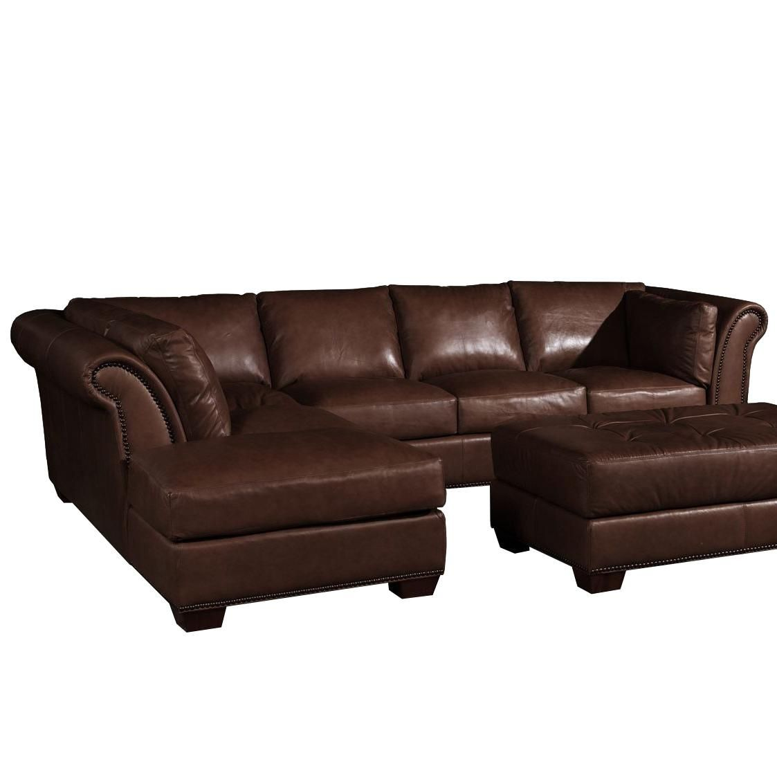 USA Premium Leather 8651 Traditional Leather Sectional Sofa   Olindeu0027s  Furniture   Sofa Sectional Baton Rouge