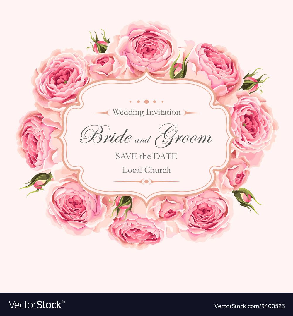 Vector Vintage Wedding Invitation With Beautiful English Roses Download A Free Preview Vintage Wedding Invitations Wedding Invitations Flower Invitation Card