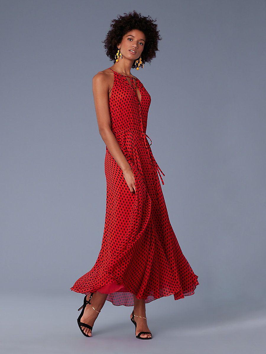 6c401fed55f Keyhole Waist Tie Maxi Dress in Baker Dot Small Vermillion ...