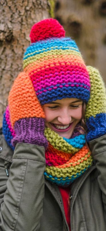 Hat Cowl And Mittens In Garter Stitch Free Knitting Pattern Knit