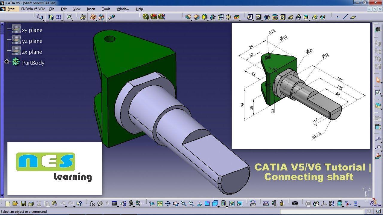CATIA V5/V6 Tutorial | Shaft Part Design Step-by-Step