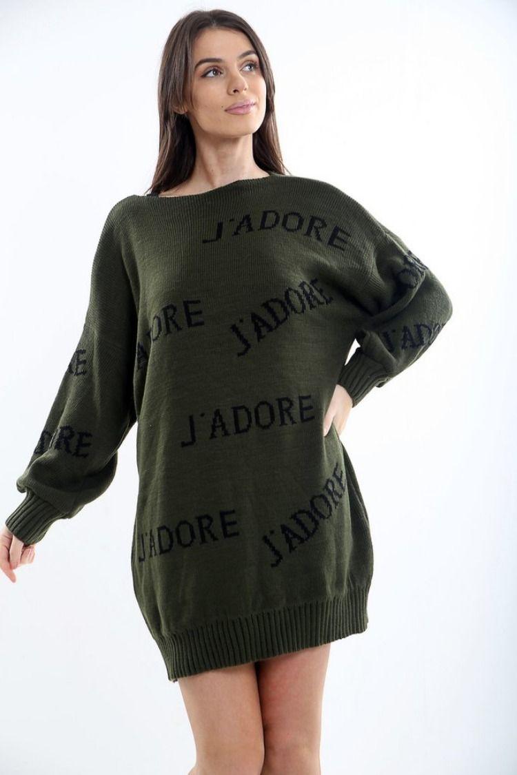 2dfebb36b47 J Adore Slogan Knit Jumper Dress thewas.co.uk Free UK Delivery ...