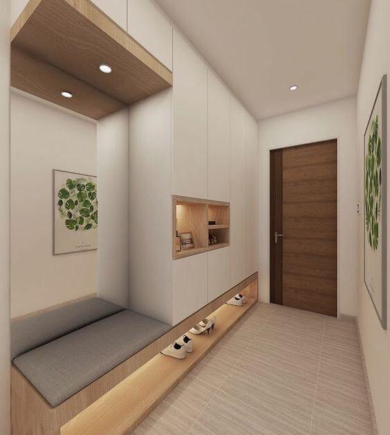 Loving The Idea Of Adding Mirror Behind The Shoe Cabinet Settee For Checking Our Figen Haus Design Garderoben Eingangsbereich Und Haus Innenarchitektur