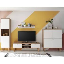 Wohnzimmer Wohnwand-Set mit Lowboard Mainz-61 weiß matt mit Eiche Riviera Nb. Retro-Stil B/H/T ca. 3