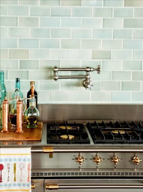 Love List Kitchens Blue Backsplash Ann Sacks Tiles Glass