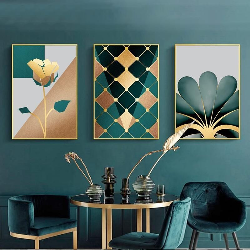 Gallery Wall Trio Of Green Gold Artworks In 2020 Gold Artwork Art Deco Interior Gold Art Print