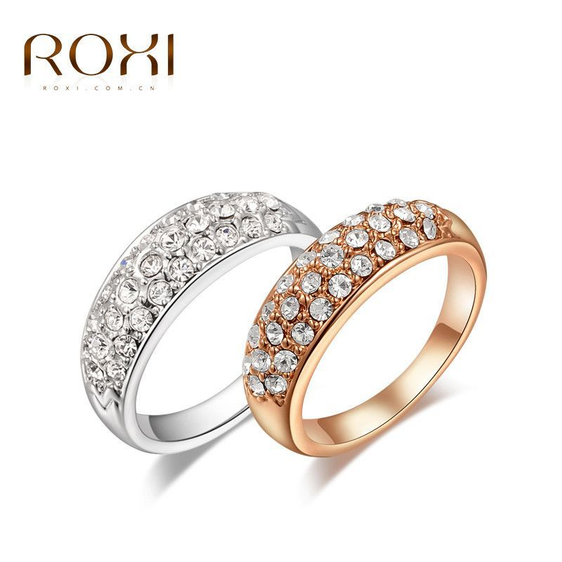 ROXI Brand 18K Rose Gold Platinum Plated Finger Ring Women Clear Crystal Wedding Party Bridal 5 6 7 8 9