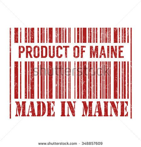 Product and made in Maine barcode grunge rubber stamp on white background, vector illustration