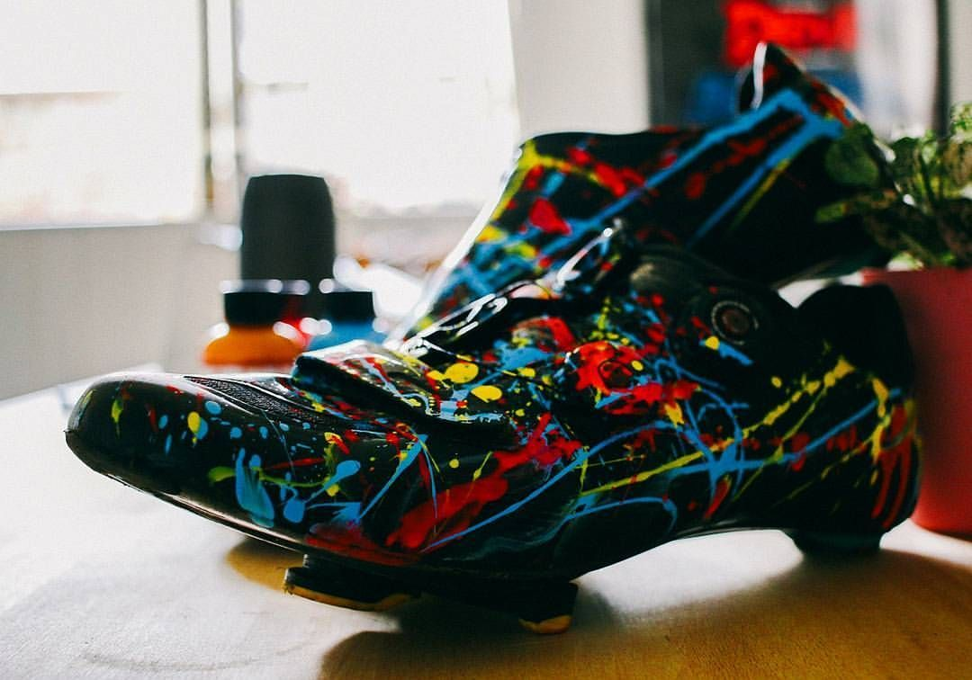 Mi Piace 2 457 Commenti 34 Velo Kicks Velokicks Su Instagram These Paint Splatter Kicks Are Created By Nq Jr Fo Bike Shoes Shoes Cycling Outfit