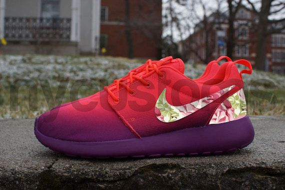 quality design 043dc 94252 Nike Roshe Run Laser Crimson Grape Ombre Rose Garden Floral Print Custom  Womens