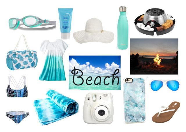 """""""A Day at the Beach"""" by kukikorner808 ❤ liked on Polyvore featuring Volcom, Casetify, Fujifilm, Ray-Ban, WithChic, Home Decorators Collection, TYR, S'well, Fivesse and Melissa Odabash"""