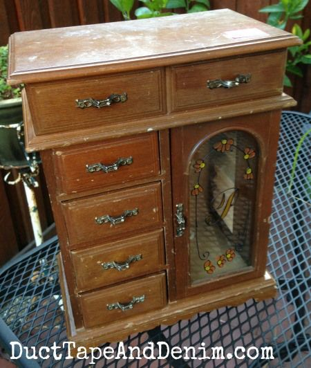 BEFORE   Dirty, Old Jewelry Cabinet Bought At A Thrift Store    DuctTapeAndDenim.com