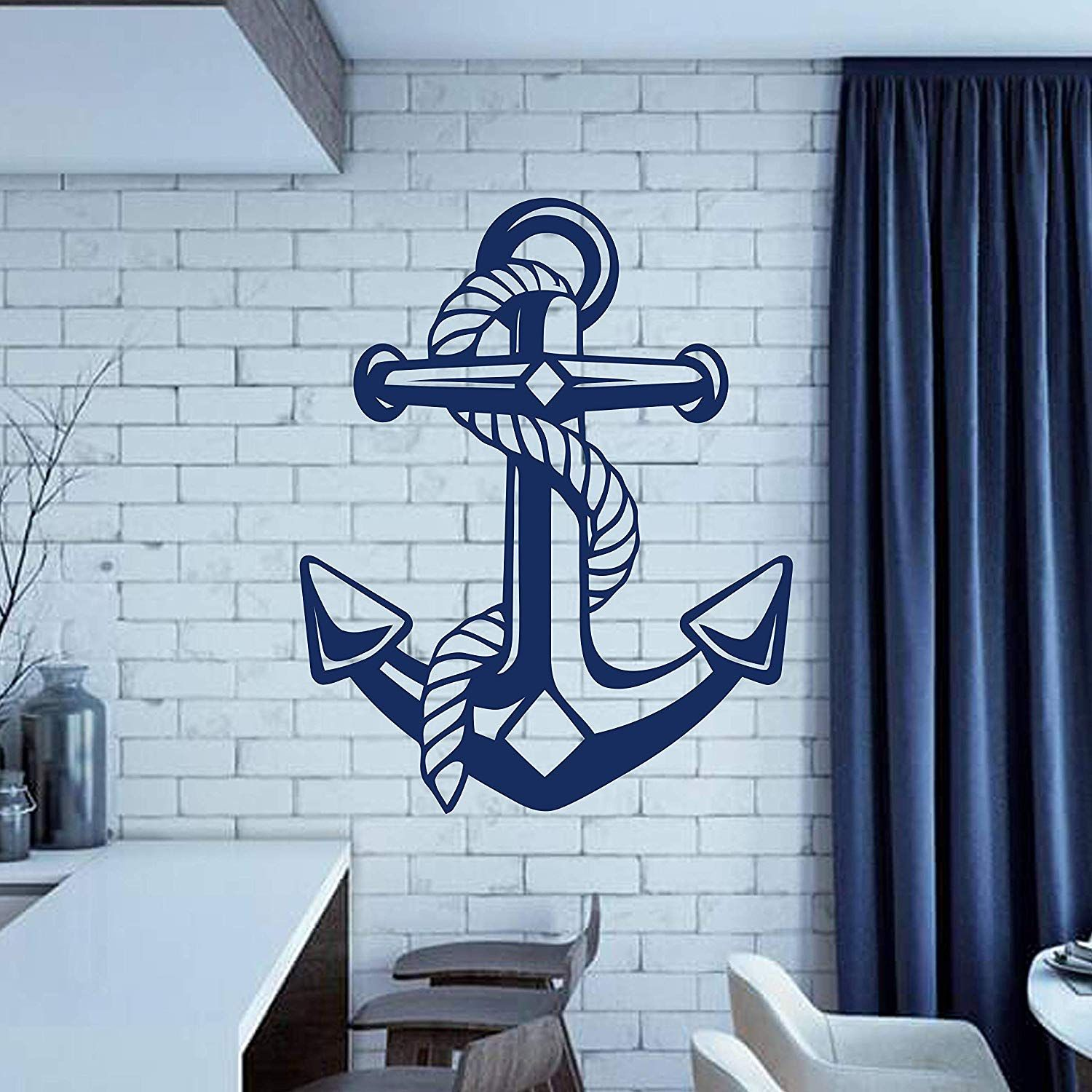 Wall Decals Anchor Nautical Wall Decal Sea Ocean Wall Decal Stickers Living Room Bedroom Kids Room Nautical Wall Decal Nautical Nursery Wall Anchor Wall Decor #sticker #for #living #room