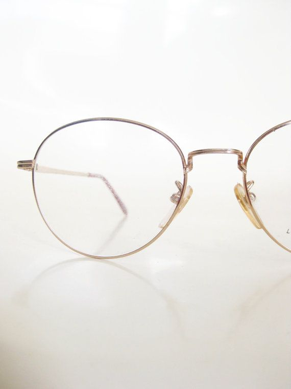 e3fcc425b14 Men s Round Glasses Vintage 1980s Gold Wire Rim Metallic Shiny Geek Chic  Nerdy Hipster Eyeglasses Deadstock NOS New Old Stock Classic