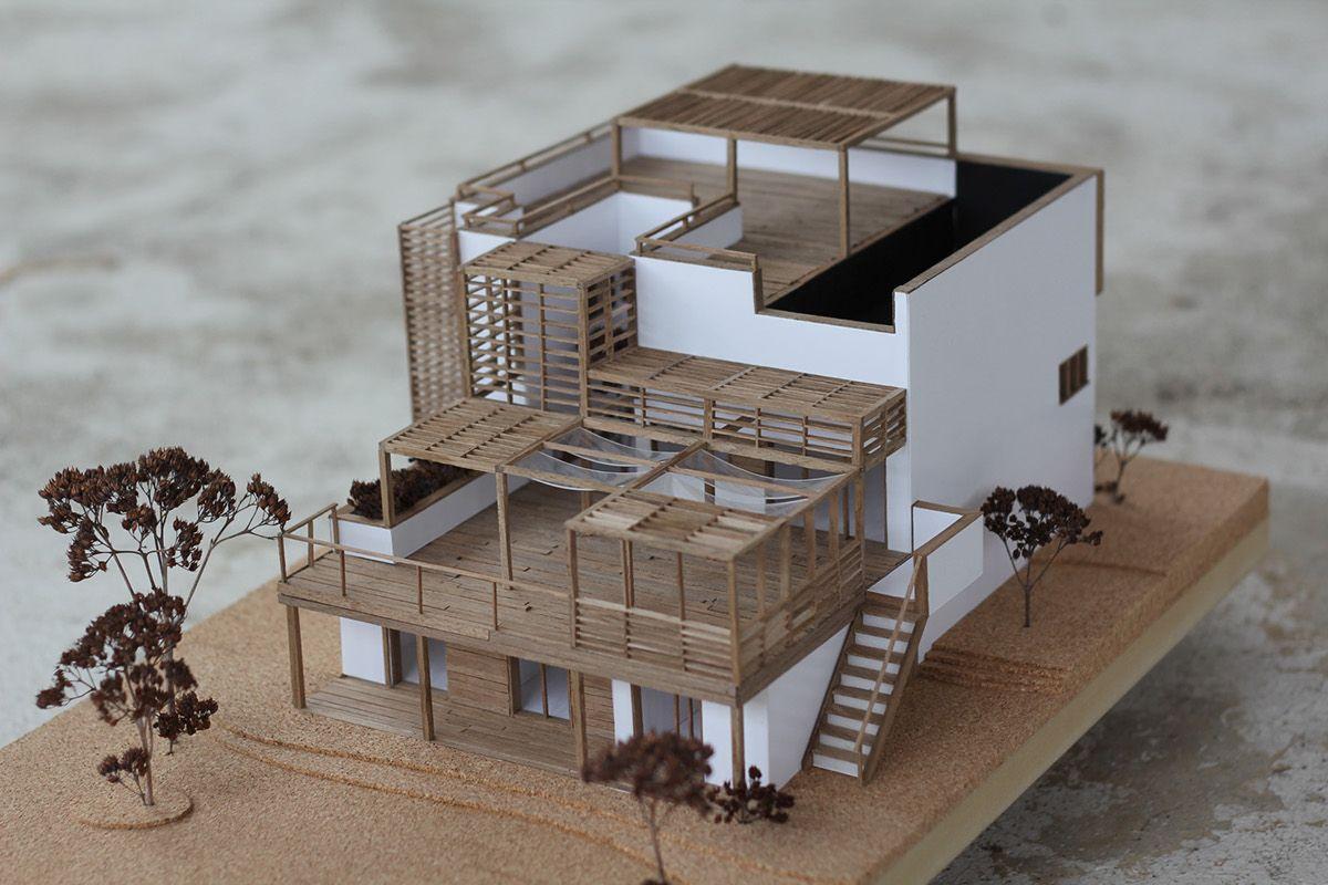 木構架建築模型製作範例 建築模型 住宅模型 建築