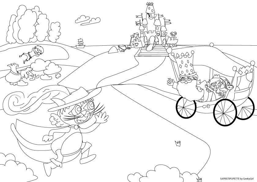 Patience les enfants on arrive le coloriage en direct du blog pinterest enfant - Dessin du chat botte ...