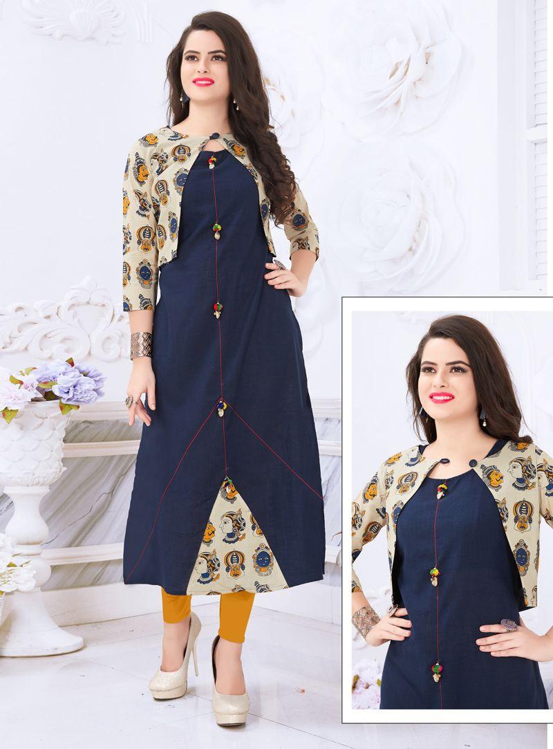 Navy blue cotton readymade kurti with koti fashion corner
