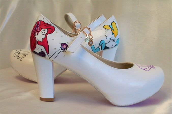disney wedding hand painted wedding shoes cinderella and ariel