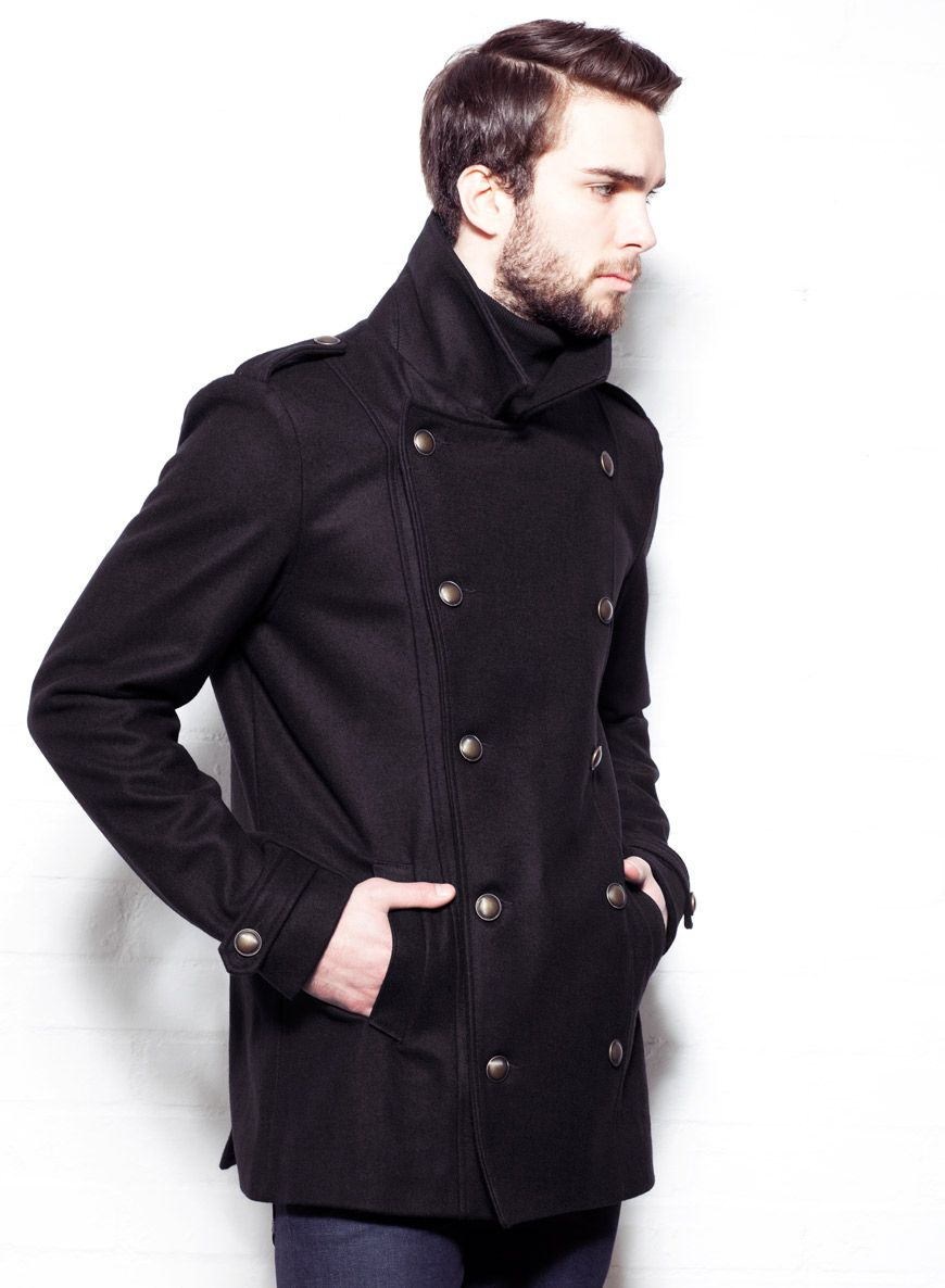 Shop Men's Black Military Wool Pea Coat. Buy retro & indie fashion ...