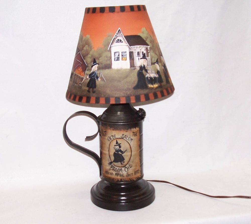 Table lamp with shade halloween witch hand painted primitive folk table lamp with shade halloween witch hand painted primitive folk art rjpe geotapseo Gallery