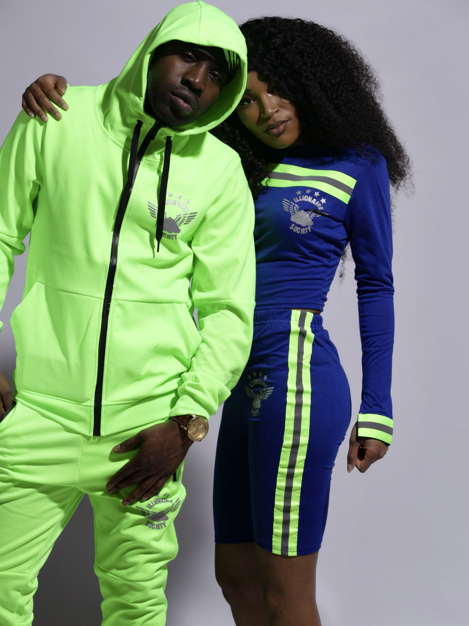 Men's Neon Green Reflective Techsuit and Women's