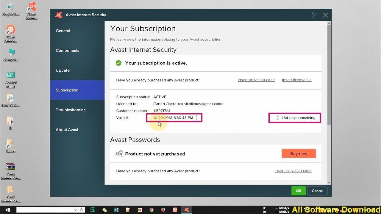 avast internet security aktivasyon kodu 2018