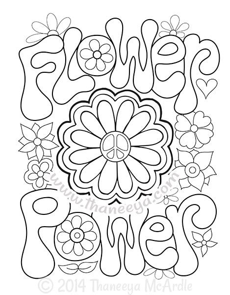 Flower Power Coloring Page By Thaneeya Mcardle Flower Coloring