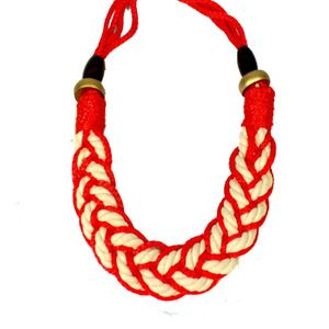 Chunky Rope Braid Necklace- Red
