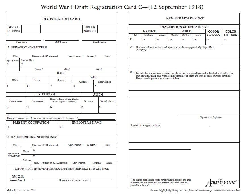 World War One Draft Registation Genealogy, Family history and - selective service registration form