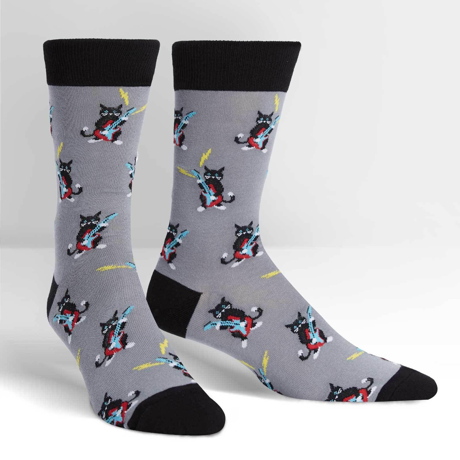 Crazy Socks For Men Men's Rock Pawty Cat Socks Joy Of