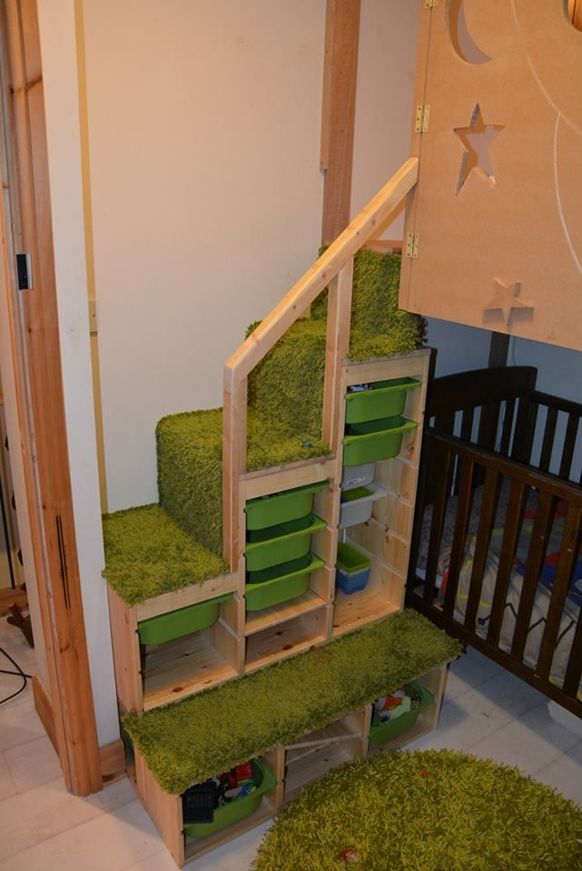The Steps To Our Boys Bunk Bed Rectangular And Stepped Trofast With Grass Carpet And Stair Banister Kids Bunk Beds Bunk Beds Kid Beds