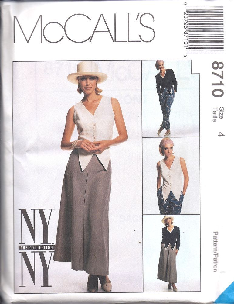 8710 UNCUT Vintage McCalls SEWING Pattern Jacket Vest Skirt Pants NY NY OOP NEW #McCalls #SewingPattern