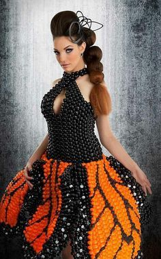 Monarch Butterfly design balloon dress by Marie Dadow of Ephemeral Fashions