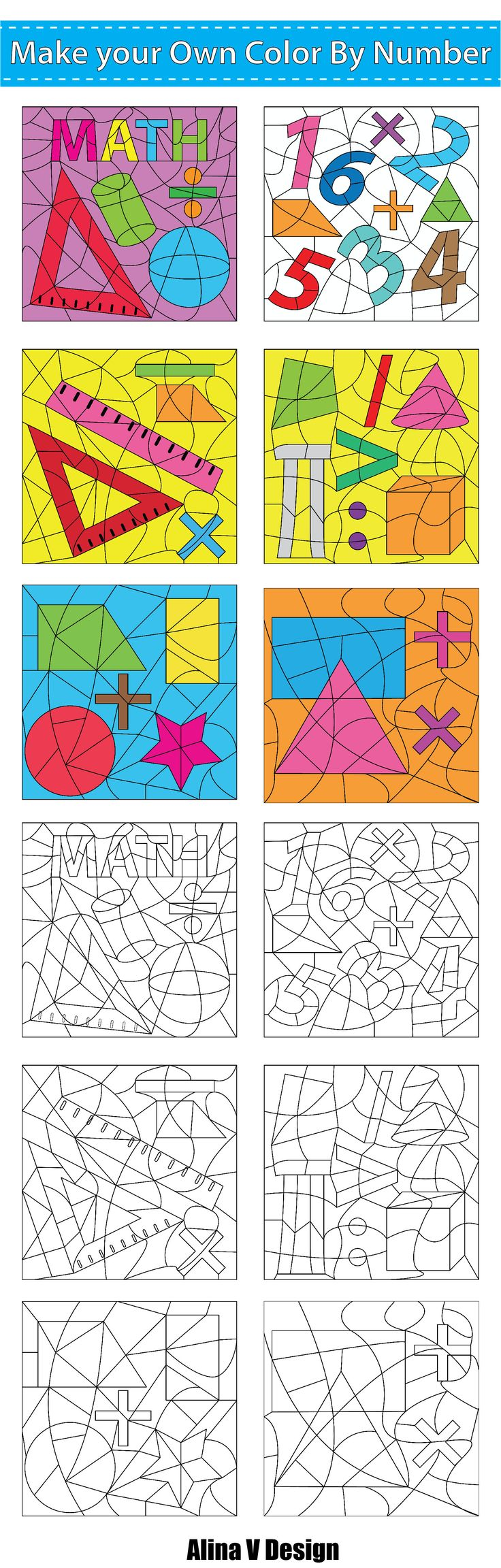 Make Your Own Color By Number - Math Theme | Math, Math projects and ...