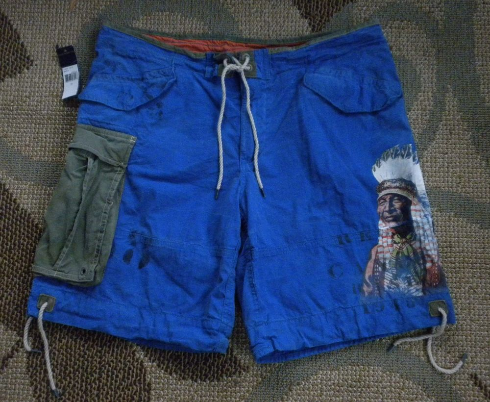 a8d8126353 NWT Men's 38 Indian Chief USA Flag Swim Trunks Board Shorts by Polo Ralph  Lauren