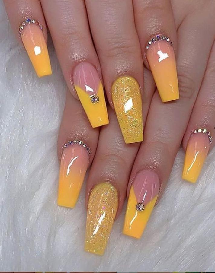 60 Gorgeous Natural Yellow Acrylic Nails Design Spring Summer In 2019 Yellow Nails Design Coffin Nails Designs Yellow Nails