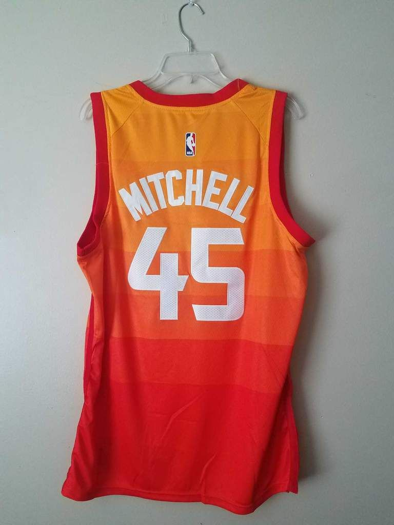 Men 45 Donovan Mitchell Jersey City edition Yellow Orange Utah Jazz ... a245d2443