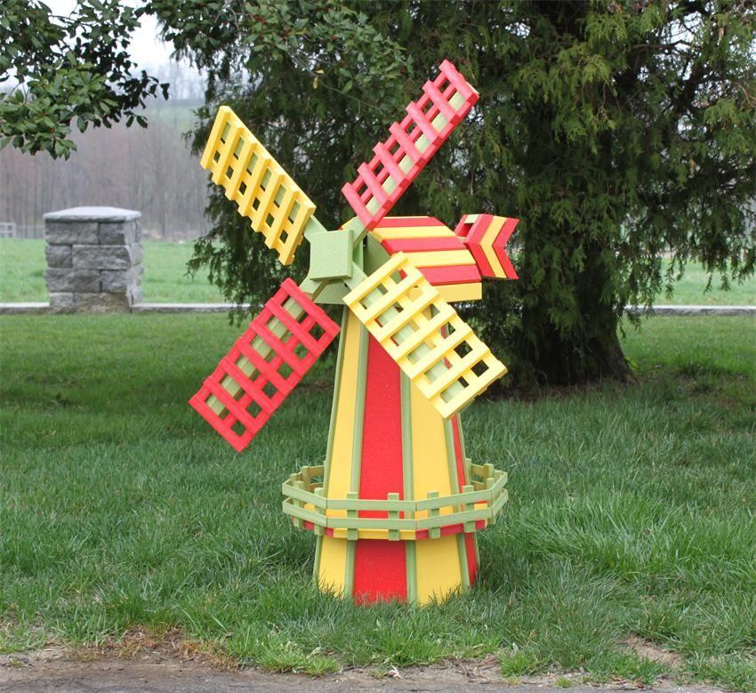 amish made ornamental poly wood dutch windmill lawn decor medium - Decorative Windmills