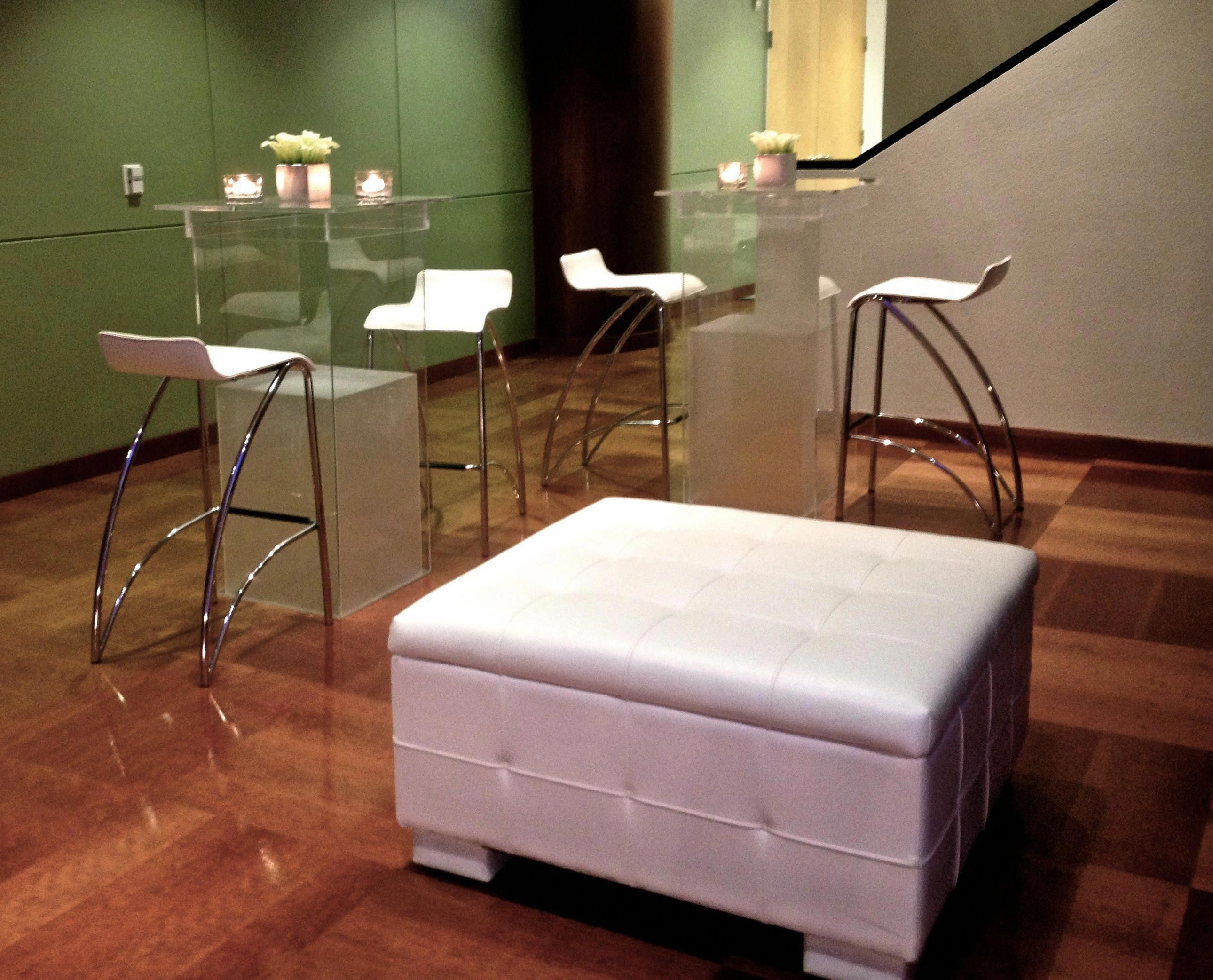 Acrylic high top tables white leather bar stools white lounge