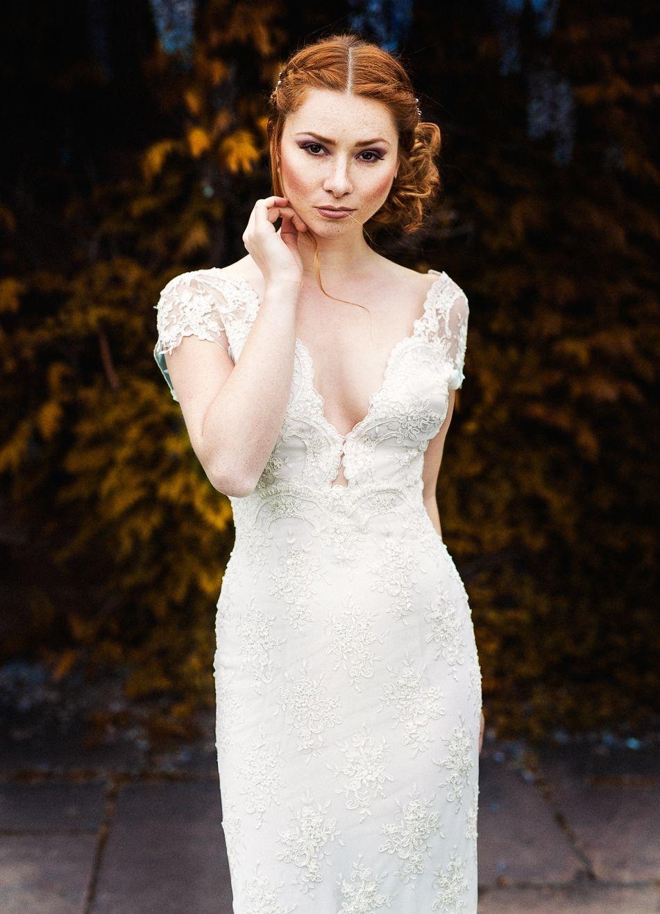 Champagnerfarbenes Brautkleid aus italienischer Perlspitze Dress ...
