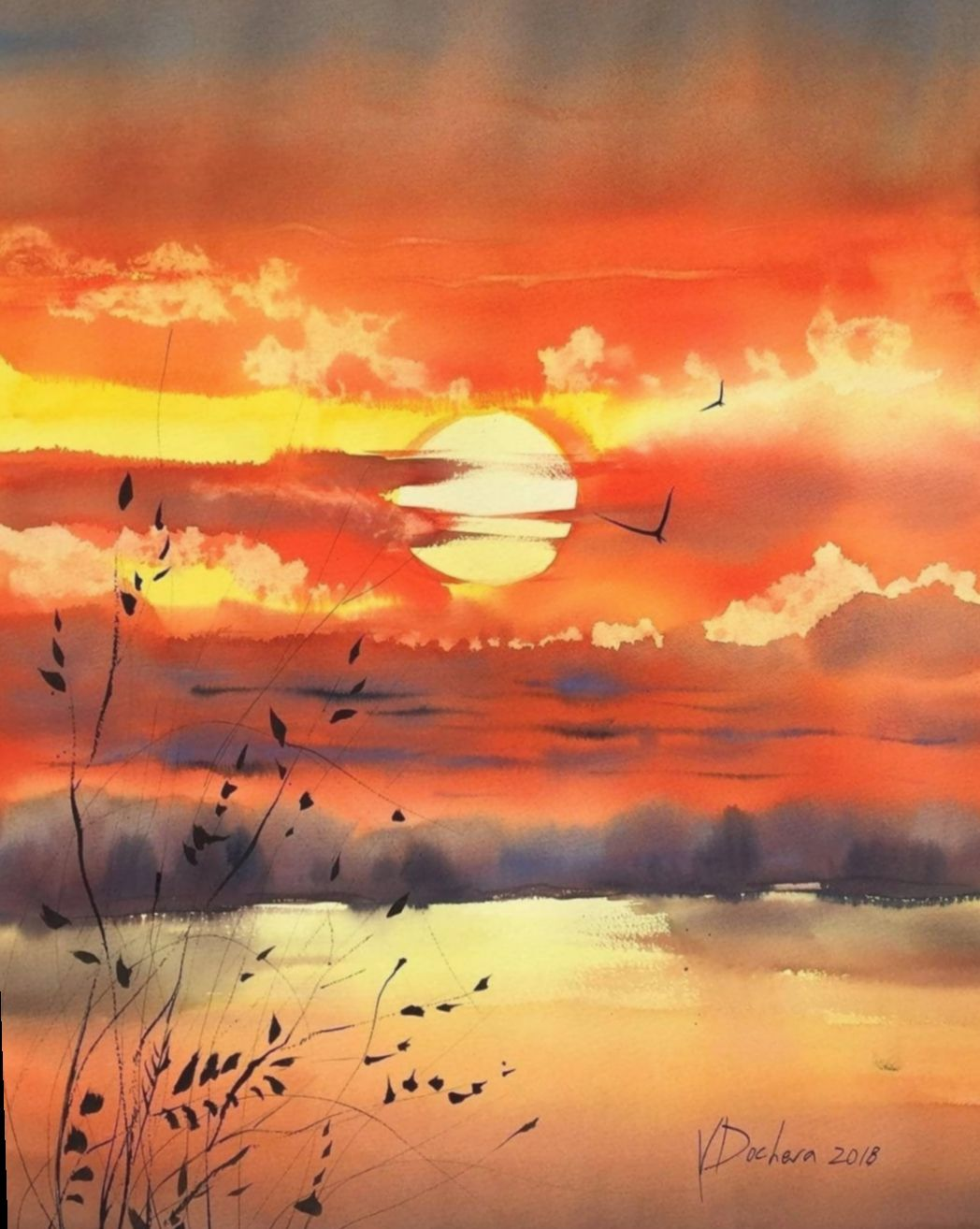 10 Drawing Art Painting Illustrations In 2020 Watercolor Landscape Paintings Watercolor Sunset Landscape Paintings
