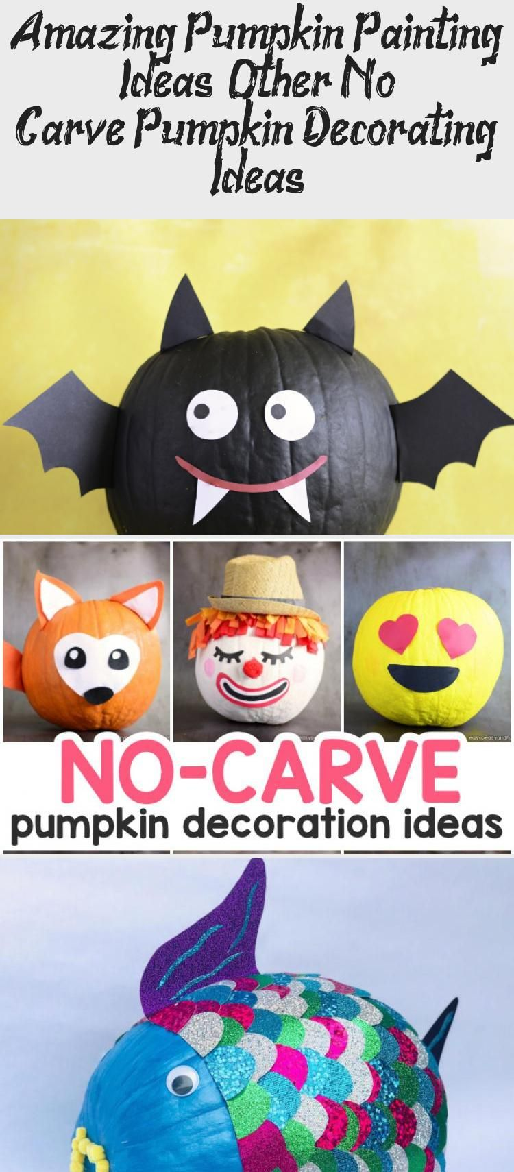 Amazing Pumpkin Painting Ideas & Other No Carve Pumpkin Decorating Ideas #paintingideasWatercolor #paintingideasFace #paintingideasSpace #paintingideasCactus #Trippypaintingideas #pumpkinpaintingideas