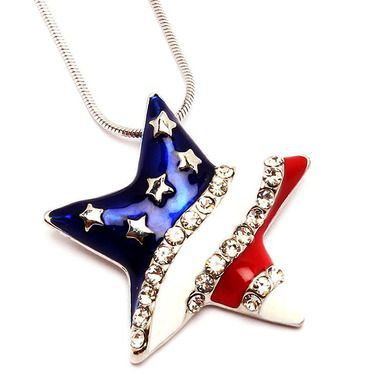 enameled stars and stripes American flag necklace