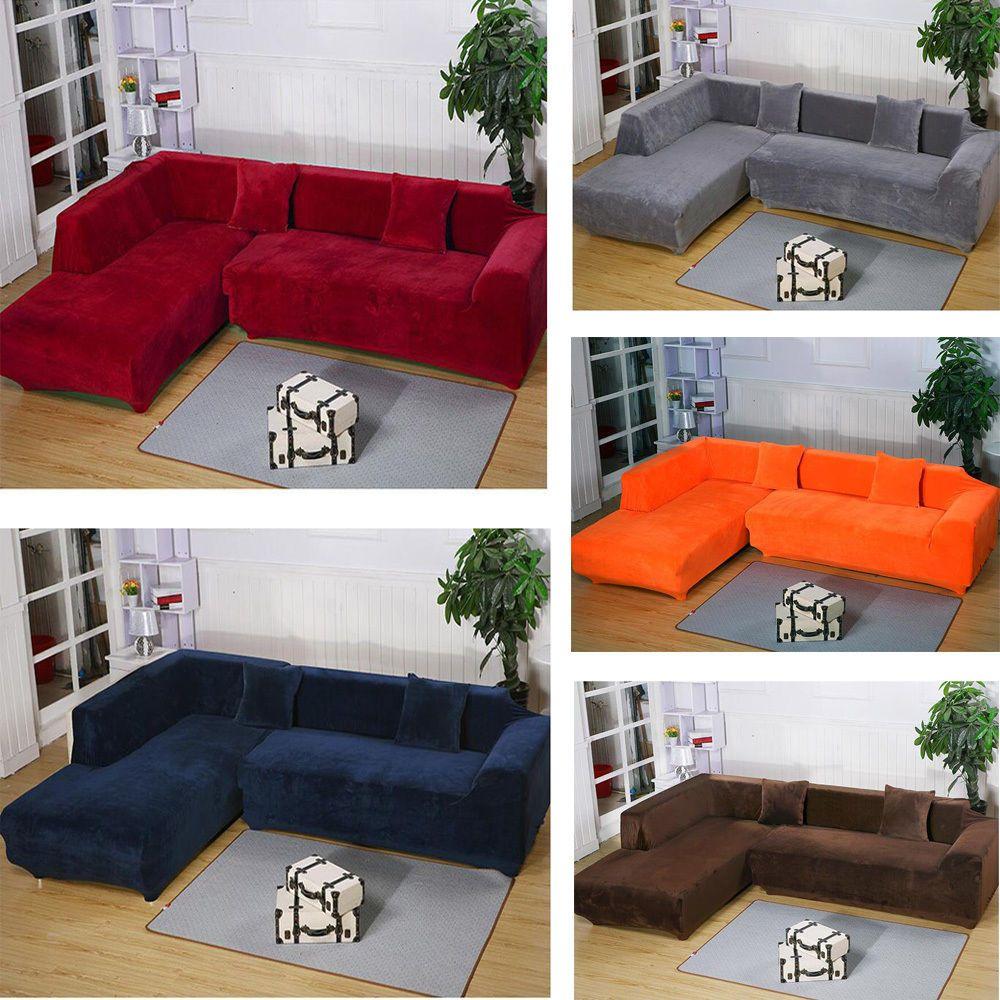 2 Seats 3 Seats Plush Stretch L Shaped Sectional Sofa Slip